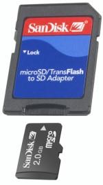 microSD (TransFlash) Speicherkarte SanDisk 2GB Aktion!